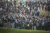 Scene at the 16th during Sunday's Singles, at the Ryder Cup, Le Golf National, Île-de-France, France. 30/09/2018.<br /> Picture David Lloyd / Golffile.ie<br /> <br /> All photo usage must carry mandatory copyright credit (© Golffile | David Lloyd)