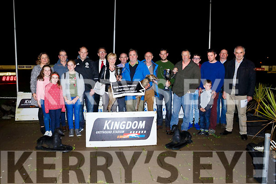 Dramatic Rosie  winner of the  final of the Steve Kennedy Memorial on Friday at the Kingdom Greyhound Stadium. Owner Oliver Healy was presented with the Trophy by Mary Kennedy