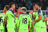 Liverpool players celebrate at the final whistle during the EPL - Premier League match between Crystal Palace and Liverpool at Selhurst Park, London, England on 29 October 2016. Photo by Steve McCarthy.