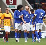 Shane Duffy celebrates his goal for Everton