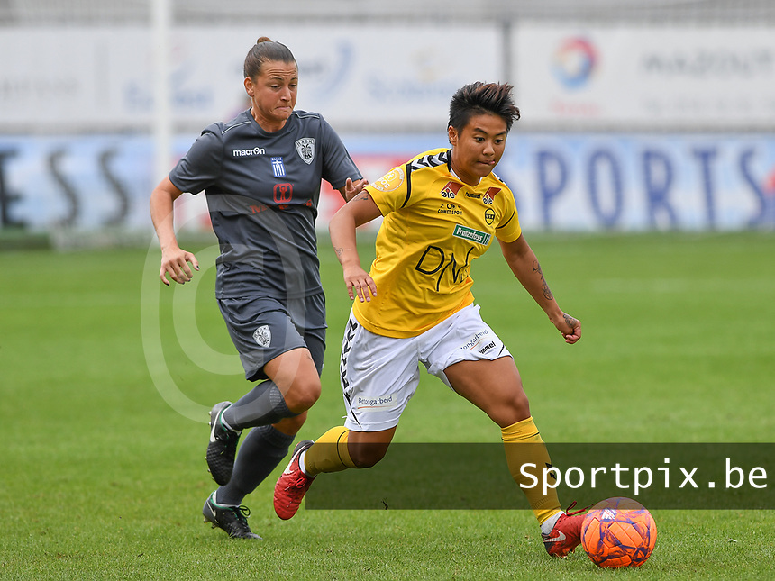 20190813 - DENDERLEEUW, BELGIUM : PAOK's Chara Dimitriou  pictured in a duel with LSK's Meryll Abrahamsen (r) during the female soccer game between the Greek PAOK Thessaloniki Ladies FC and the Norwegian LSK Kvinner Fotballklubb Ladies , the third and final game for both teams in the Uefa Womens Champions League Qualifying round in group 8 , Tuesday 13 th August 2019 at the Van Roy Stadium in Denderleeuw  , Belgium  .  PHOTO SPORTPIX.BE for NTB | DAVID CATRY