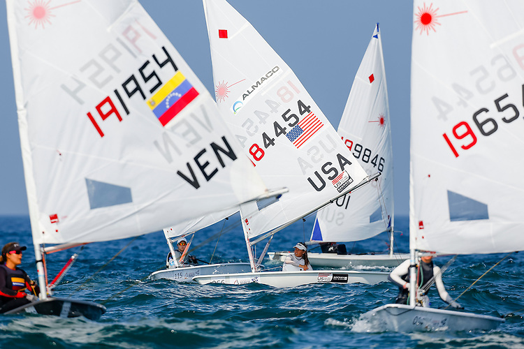 SANTANDER, SPAIN - SEPTEMBER 12:  Laser Radial - USA184454 - Erika REINEKE in action during Day 1 of the 2014 ISAF Sailing World Championships on September 12, 2014 in Santander, Spain.  (Photo by MickAnderson/SAILINGPIX via Getty Images)