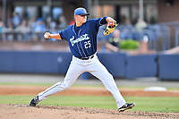 Asheville Tourists starting pitcher Will Gaddis (25) delivers a pitch during a game against the Rome Braves at McCormick Field on June 7, 2018 in Asheville, North Carolina. The Braves defeated the Tourists 8-6. (Tony Farlow/Four Seam Images)