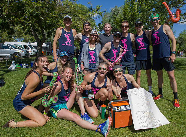 The Sax Addicts team poses for a photo at the 2019 Reno Tahoe Odyssey finish at Idlewild Park in Reno on Saturday, June 1, 2019.