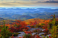 View of autumn colors and distant mountains from the Tanawha hiking trail, located on Grandfather Mountain near the Blue Ridge Parkway in North Carolina