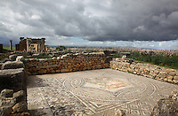 Floor mosaic of Bacchus finding Ariadne asleep, from the House of the Knight (named after a bronze statue found there in 1918), Volubilis, Northern Morocco. Volubilis was founded in the 3rd century BC by the Phoenicians and was a Roman settlement from the 1st century AD. Volubilis was a thriving Roman olive growing town until 280 AD and was settled until the 11th century. The buildings were largely destroyed by an earthquake in the 18th century and have since been excavated and partly restored. Volubilis was listed as a UNESCO World Heritage Site in 1997. Picture by Manuel Cohen
