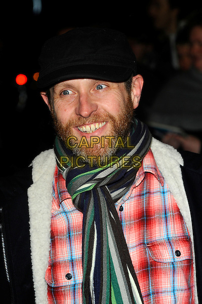 Dave Gorman.Arrivals at the 'All New People' London Press Night held at the Duke of York's Theatre, London, England..Febraury 28th, 2012.headshot portrait black flat cap hat beard facial hair green scarf red check shirt.CAP/CJ.©Chris Joseph/Capital Pictures.