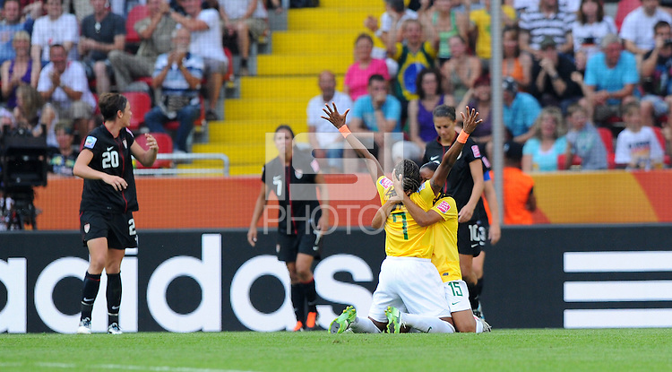Players of team Brazil celebrates during the FIFA Women's World Cup at the FIFA Stadium in Dresden, Germany on July 10th, 2011.