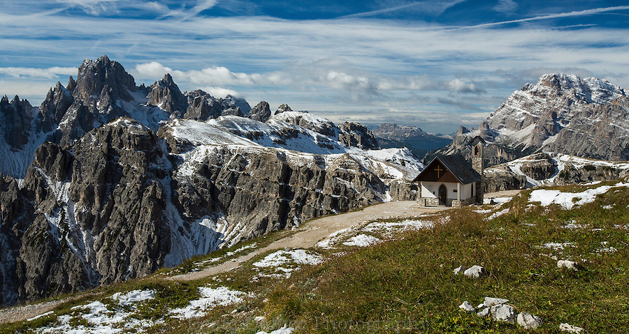Small chapel along the trail at Tre Cime, Dolomites, Italy