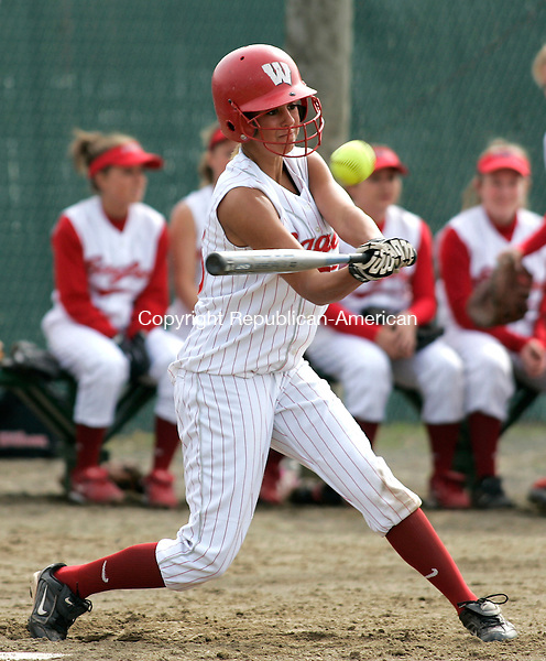 WATERBURY, CT - 26 APRIL 2007 - 042607JW04.jpg -- Wolcott #25 Carley Murphy hits during Wolcotts win over Sacred Hearts 18-0 at Municipal Stadium Thursday afternoon. Jonathan Wilcox Republican-American