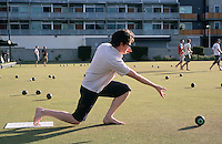"""Barefoot bowling"", a far cry from the formality of traditional lawn bowling with its white-clad figures, is a popular pastime in Australia, especially for office outings."
