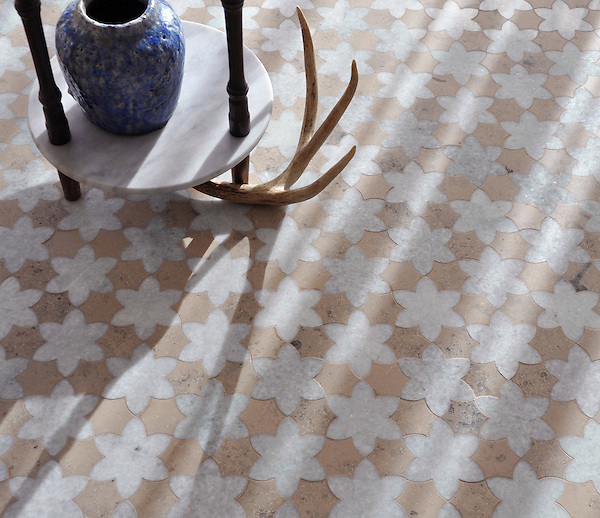Cadiz, a handmade mosaic shown in polished Ming Green and honed Jura Grey, is part of the Miraflores Collection by Paul Schatz for New Ravenna.