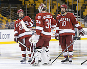 Luke Greiner (Harvard - 26), Steve Michalek (Harvard - 34), Eric Kroshus (Harvard - 10) - The Harvard University Crimson defeated the Northeastern University Huskies 3-2 in the 2012 Beanpot consolation game on Monday, February 13, 2012, at TD Garden in Boston, Massachusetts.
