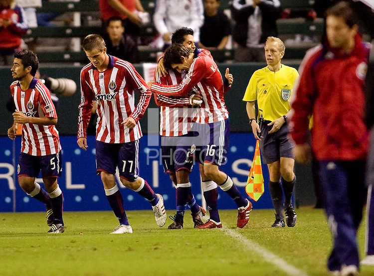 Chivas USA midfielder Sacha Kljestan celebrates his goal with teammates. Chivas USA defeated the Kansas City Wizards 2-0 at Home Depot Center stadium in Carson, California on Saturday October 10, 2009...