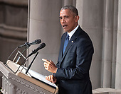 Former United States President Barack Obama speaks at the funeral service for the late US Senator John S. McCain, III (Republican of Arizona) at the Washington National Cathedral in Washington, DC on Saturday, September 1, 2018.<br /> Credit: Ron Sachs / CNP<br /> <br /> (RESTRICTION: NO New York or New Jersey Newspapers or newspapers within a 75 mile radius of New York City)
