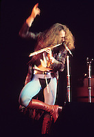 Ian Anderson lead singer and flutist for the rock group Jethro Tull performs in concert.