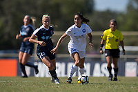 Sanford, FL - Saturday Oct. 14, 2017:  A Pride player looks for support as she turns away from pressure during a US Soccer Girls' Development Academy match between Orlando Pride and NC Courage at Seminole Soccer Complex. The Courage defeated the Pride 3-1.