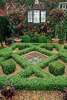 Courtyard garden with knot box maze, pebble mulch, trees in pots, succulents & flowers parterre, container garden trees