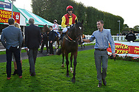 Winner of The Bathwick Tyres Handicap Stakes   Quothquan ridden by George Wood and trained by Michael Madgwick is led into the winners enclosure during Afternoon Racing at Salisbury Racecourse on 4th October 2017