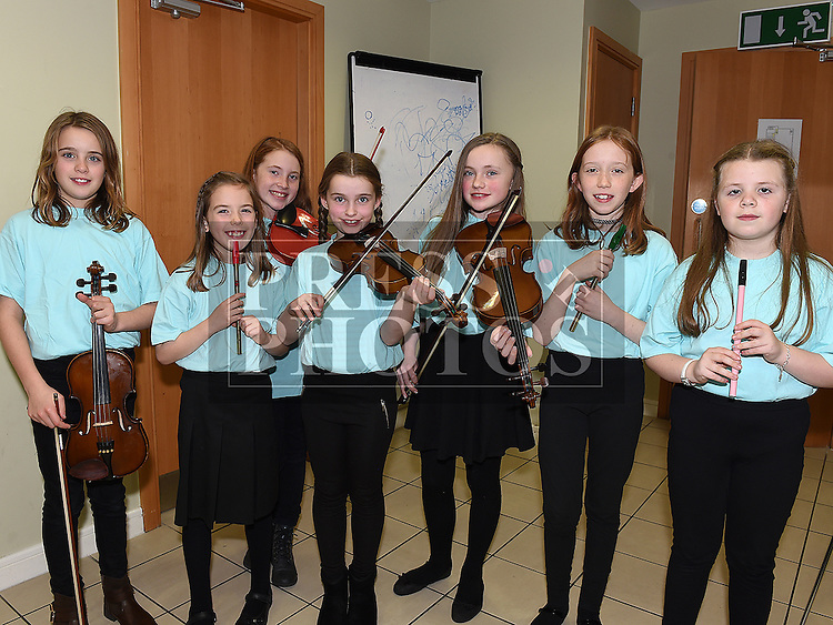 Children from Comhaltas Óg Droichead Átha pictured at the Trad Na Samhna music show in the Barbican Centre. Photo:Colin Bell/pressphotos.ie