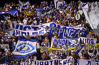 ENVIGADO -COLOMBIA-26-04-2015. Hinchas de Millonarios animan a su equipo durante el encuentro con Envigado FC por la fecha 17 de la Liga Águila I 2015 realizado en el Polideportivo Sur de la ciudad de Envigado./ Fans of Millonarios cheer their team during the match against Envigado FC for the 17th date of the Aguila League I 2015 at Polideportivo Sur in Envigado city.  Photo: VizzorImage/León Monsalve/STR