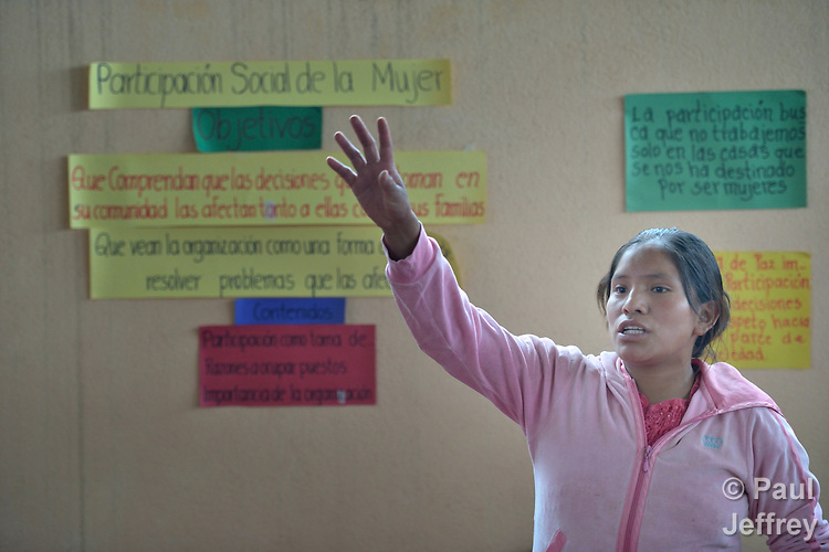 Jovita Guzman speaks in a workshop on women's rights in Tuixcajchis, a small Mam-speaking Maya village in Comitancillo, Guatemala. Guzman is a promoter with the Maya Mam Association for Investigation and Development (AMMID).