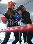 Gaby Simkins Drogheda boxing club (red) and Shauna O'Callaghan Clann Naofa boxing club (blue) Dundalk. Photo:Colin Bell/pressphotos.ie