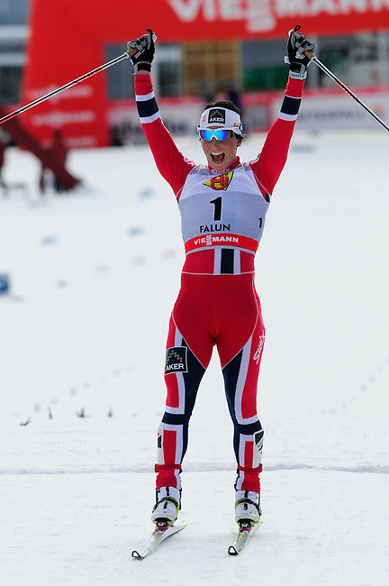 FALUN, SWEDEN - March 24: Marit Bjoergen of Norway (NOR) wins the Viessmann Ladies Handicap 10km F at the FIS Cross country World Cup Final on March 24, 2013 in Falun, Sweden. (Photo by Dirk Markgraf)