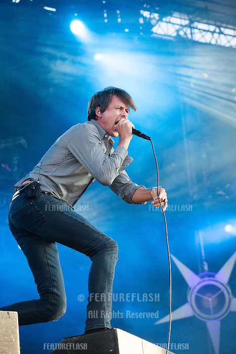 CARHAIX-PLOUGUER, FRANCE - JULY 16, 2016: Singer Brett Anderson of English alternative rock band Suede performs at the Festival des Vieilles Charrues, Carhaix-Plouguer, France<br /> Picture: Kristina Afanasyeva / Featureflash