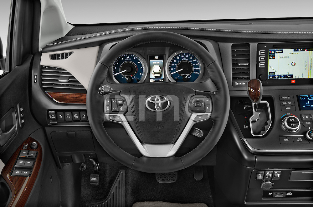 Car pictures of steering wheel view of a2015 Toyota Sienna Limited V6 8-Passenger 5 Door Mini Van Steering Wheel