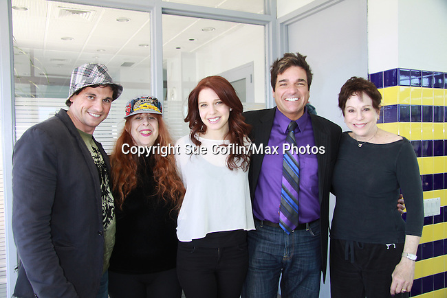"""Billy Freda (on Romance Novel covers, Jane Elissa, singer songwriter Missy Modell, Dale Badway (creator Fame-Wall) & hosting event coming up & Days of Our Lives Loise Sorel - Promo shoot for the annual Broadway Extravaganza in honor of Jane Elissa's Candidacy for Leukemia & Lymphoma Society Woman of the Year and for Hats for Health on April 23, 2012 at the Marriott Marquis Hotel, New York City, New York. In the shoot are Days of Our Live Louise Sorel """"Vivian"""", Broadway Bonnie and Clyde Melissa VanDer Schyff and Clay Elder, Dale Badway (Creator Fame-Wall) and host for the upcoming event, Corey Brunish (producer of Bonnie & Clyde) and Billy Freda, Missy Modell (Photo by Sue Coflin/Max Photos)"""