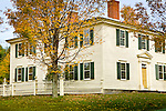 Fall foliage, President Franklin Pierce Homestead, home of the 14th US president,  in Hillsborough Lower Village, NH, USA