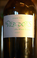 Bottle of cuvee Les Verdots, detail of label Domaine Vignoble des Verdots Conne de Labarde Bergerac Dordogne France