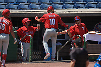 Philadelphia Phillies Hunter Hearn (left) and coaches congratulates Bryson Stott (10) after hitting a home run during an Instructional League game against the Toronto Blue Jays on September 17, 2019 at Spectrum Field in Clearwater, Florida.  (Mike Janes/Four Seam Images)