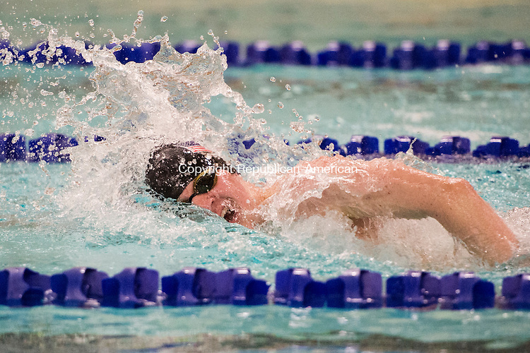 WATERBURY, CT - 22 December 2015-122215EC13--   Sacred Heart's Dan Walsh wins the 500 Freestyle event in 5:00.74 against Oxford Tuesday night. Erin Covey Republican-American.