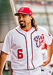 8 July 2017: Washington Nationals third baseman Anthony Rendon awaits the start of play prior to a game against the Atlanta Braves at Nationals Park in Washington, DC. The Braves shut out the Nationals 13-0 to take the third game of their 4-game series. Mandatory Credit: Ed Wolfstein Photo *** RAW (NEF) Image File Available ***