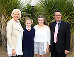 Blaithin Maguire, Ella O'Rourke, Clara O'Rourke and John O'Rourke during confirmation for Donacarney School at Mornington Church on Thursday 21st May 2015.<br /> Picture:  Thos Caffrey / www.newsfile.ie