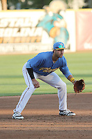 Myrtle Beach Pelicans third baseman Joey Gallo #14 in the field during a game against the Potomac Nationals at Ticketreturn.com Field at Pelicans Ballpark on April 16, 2014 in Myrtle Beach, South Carolina. Potomac defeated Myrtle Beach 7-3. (Robert Gurganus/Four Seam Images)