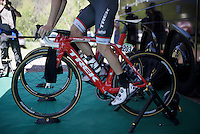 Jack Bobridge (AUS/Trek-Segafredo) warming up<br /> <br /> stage 15 (iTT): Castelrotto-Alpe di Siusi 10.8km<br /> 99th Giro d'Italia 2016
