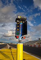 Aug 20, 2016; Brainerd, MN, USA; Overall view of the starting line timing light system also referred to as the Christmas Tree following NHRA qualifying for the Lucas Oil Nationals at Brainerd International Raceway. Mandatory Credit: Mark J. Rebilas-USA TODAY Sports