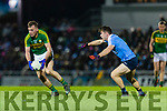 Donnchadh Walsh Kerry in action against David Byrne Dublin in the National League in Austin Stack park on Saturday night.