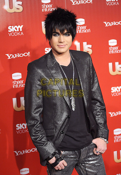 ADAM LAMBERT                   .US Weekly's Hot Hollywood Party 2009 held at Voyeur, West Hollywood, California, USA. .November 18th, 2009.half length black jacket silver feather necklace .CAP/RKE/DVS.©DVS/RockinExposures/Capital Pictures.