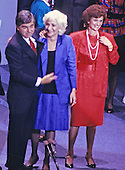 Oscar Award-winning actress Olympia Dukakis, appears with her cousin, Governor Michael Dukakis (Democrat of Massachusetts), the 1988 Democratic Party nominee for President of the United States, at the 1988 Democratic National Convention in the Omni Coliseum in Atlanta, Georgia on July 21, 1988.  Kitty Dukakis is a right in the red dress.<br /> Credit: Arnie Sachs / CNP