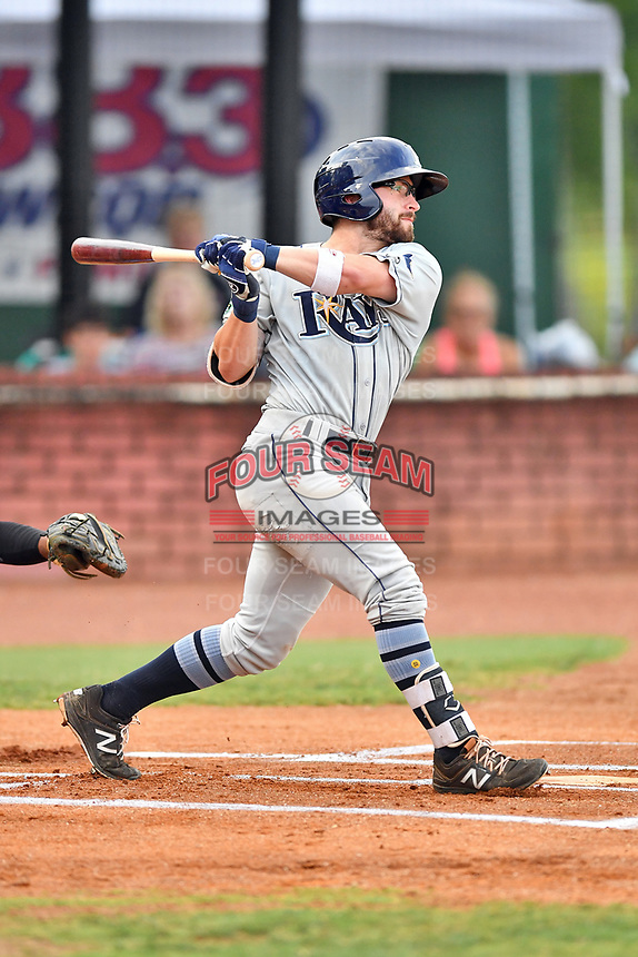 Princeton Rays second baseman Jake Palomaki (4) swings at a pitch during game two of the Appalachian League Championship Series against the Elizabethton Twins at Joe O'Brien Field on September 5, 2018 in Elizabethton, Tennessee. The Twins defeated the Rays 2-1 to win the Appalachian League Championship. (Tony Farlow/Four Seam Images)