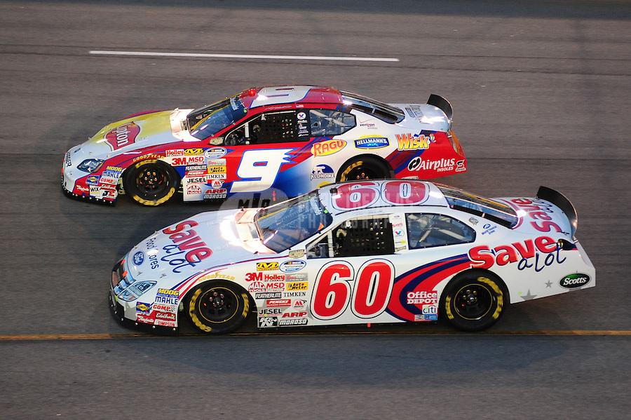 May 2, 2008; Richmond, VA, USA; NASCAR Nationwide Series driver Carl Edwards (60) races alongside Kasey Kahne (9) during the Lipton Tea 250 at the Richmond International Raceway. Mandatory Credit: Mark J. Rebilas-US PRESSWIRE