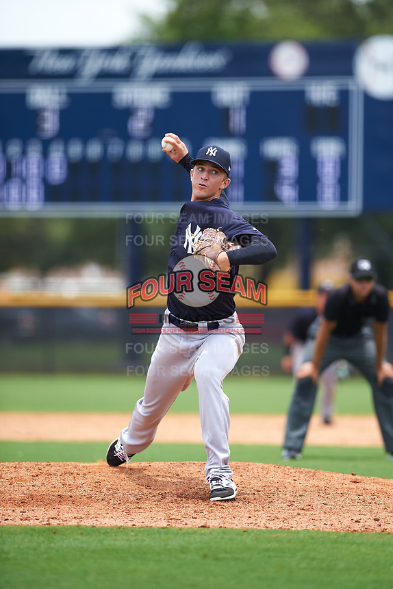 GCL Yankees East relief pitcher Aaron McGarity (21) delivers a pitch during the second game of a doubleheader against the GCL Yankees West on July 19, 2017 at the Yankees Minor League Complex in Tampa, Florida.  GCL Yankees West defeated the GCL Yankees East 3-1.  (Mike Janes/Four Seam Images)