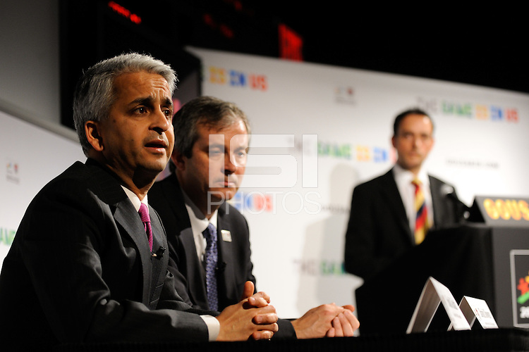 U.S. Soccer President and USA Bid Committee Chairman Sunil Gulati and USA Bid Committee Executive Director David Downs answer questions from the media during a press conference announcing the 18 cities to be submitted to FIFA as part of the bid to host the 2018 or 2022 FIFA World Cup at the ESPN Zone in Times Square, NYC, NY, on January 12, 2010.