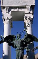Statue and war memorial in Calvi, Corsica, France.