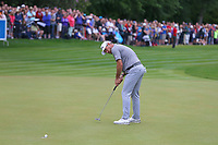 Lee Westwood putts on the 18th green during the BMW PGA Golf Championship at Wentworth Golf Course, Wentworth Drive, Virginia Water, England on 28 May 2017. Photo by Steve McCarthy/PRiME Media Images.