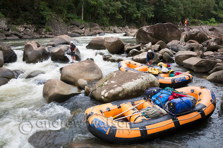 White-water rafting expedition on the North Johnstone River, Wooroonoonan National Park, Queensland, Australia
